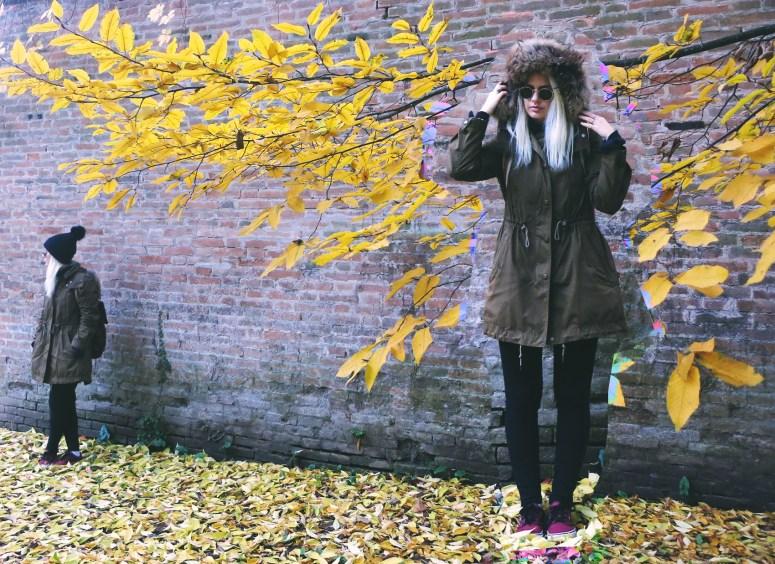 Green Burberry Brit Parka
