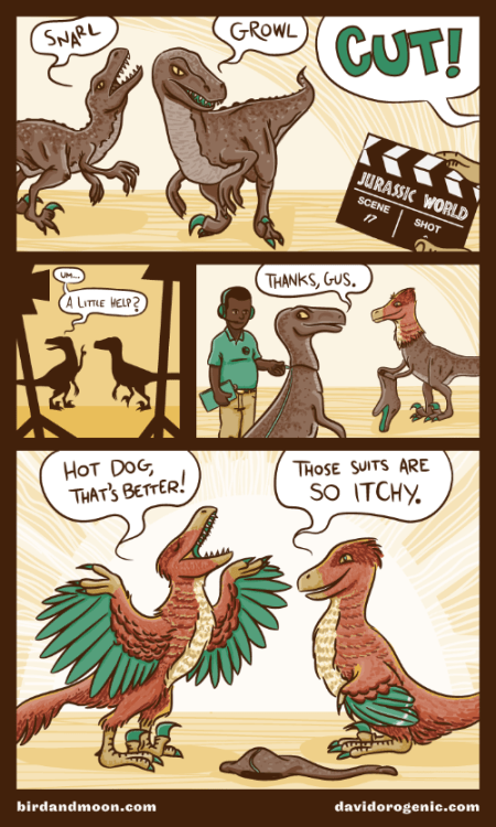 The amazing David Orr and I worked together on this comic (check out his site for more great paleo design). As the owner of two feisty parrots, I feel like feathered raptors are just as exciting as those scaly ones we grew up with.