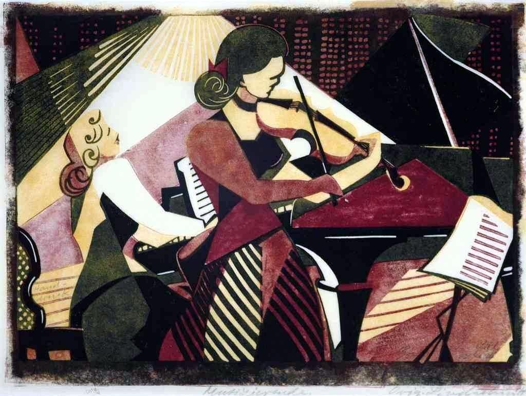 lawrenceleemagnuson:  Lill Tschudi (Swiss 1911-2004)Musicians (1949)linocut in colours 24.5 x 33.1cm