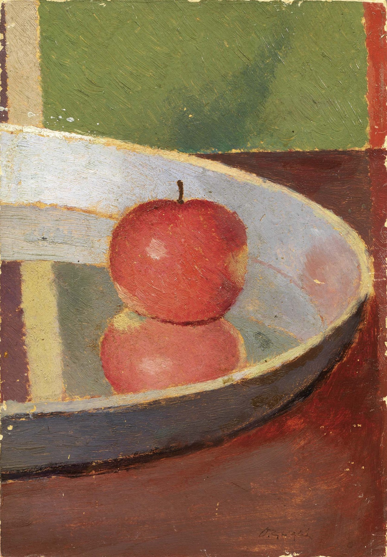 thunderstruck9: Oscar Ghiglia (Italian, 1876-1945), La mela [Apple], c.1922-25. Oil on cardboard, 25 x 17.2 cm.