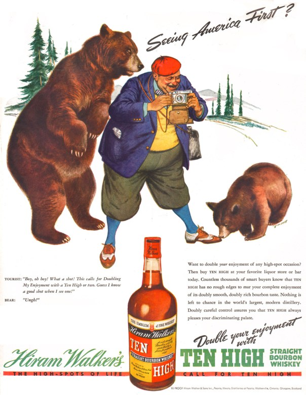 Hiram Walker's Ten High Straight Bourbon Whiskey - 1938