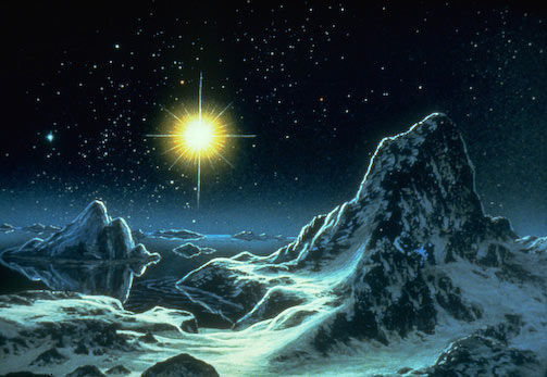 Surface of Pluto as envisioned by Don Dixon