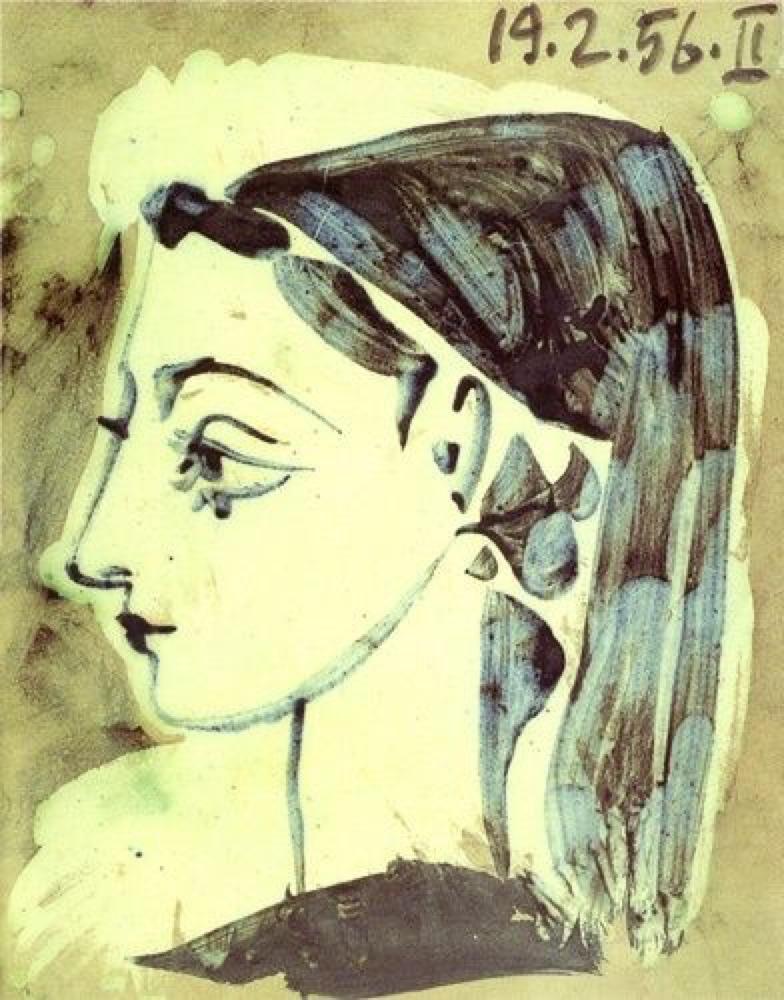 kundst: Pablo Picasso (Sp. 1881-1973) Profile of Jacqueline (1957)