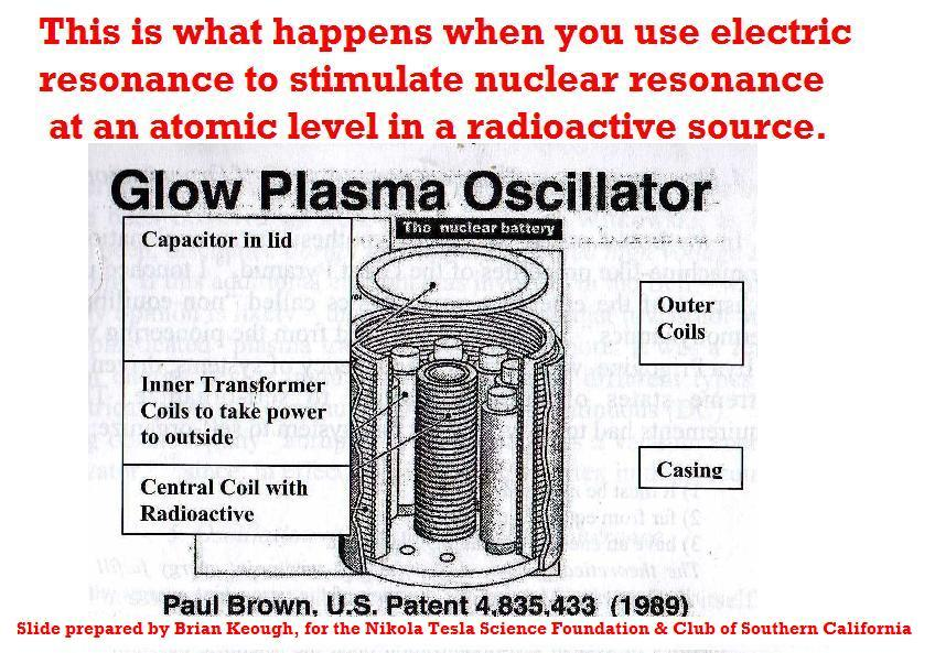 "The resonance between the primary, and the secondary coils of  opposing transmitting and receiving Tesla coils accounts for the  marvelous ability of wireless energy transmission technology utilized by  Nikola Tesla. Resonance is a characteristic found in all forms of  waves. Electromagnetic, water, sound, all have similarities that allow  approximation but in essence- a wave is a wave regardless of its type.  While most Tesla researchers know about resonance as it relates to wireless  transmission phenomena, many other utilized scientific phenomena are  attributed to the ""Physics of Resonance"". While Nikola Tesla was the  first to make use of it in the transmitting of electricity, the  applications, as we will show you, go much, much further. In this post  we offer two separate examples of resonance, first we present for your  contemplations this link to the University of Florida's magnetic  resonance simulator: https://vam.anest.ufl.edu/simu…/nuclearmagneticresonance.php  Our second reference comes in the form of the patent art (Below),  illustrating the resonate beta voltaic effect as relates to a patented  ""Resonate Nuclear Battery"". This is an incredible example of  technologies made possible by the curiously universal phenomena of  resonance. Dr. Paul Brown's research and patents relate to safe, clean,  alternative energy generation. He also used his resonance effect to  treat nuclear waste turning it into waste that can be safely buried."