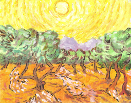 I took an 2-hours-long Impressionism Art Class and Van Gogh was my inspiration. (2014)Original: Olive Trees with Yellow Sun and Sky , Van Gogh