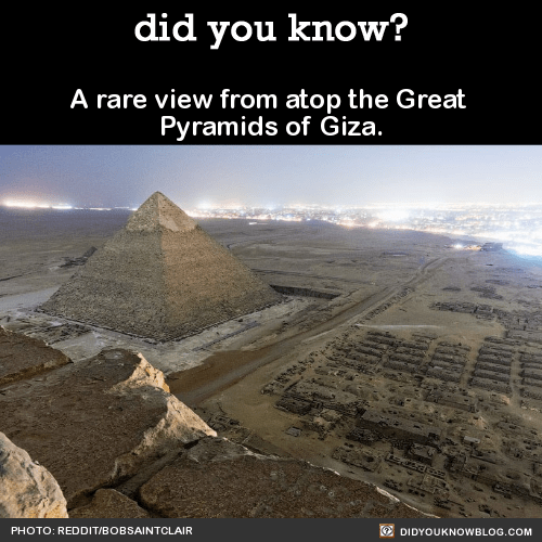 A rare view from atop the Great Pyramids of Giza.  Source