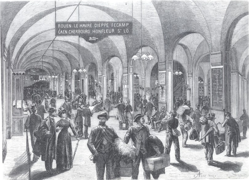 A drawing of a busy train station in 1880s france.
