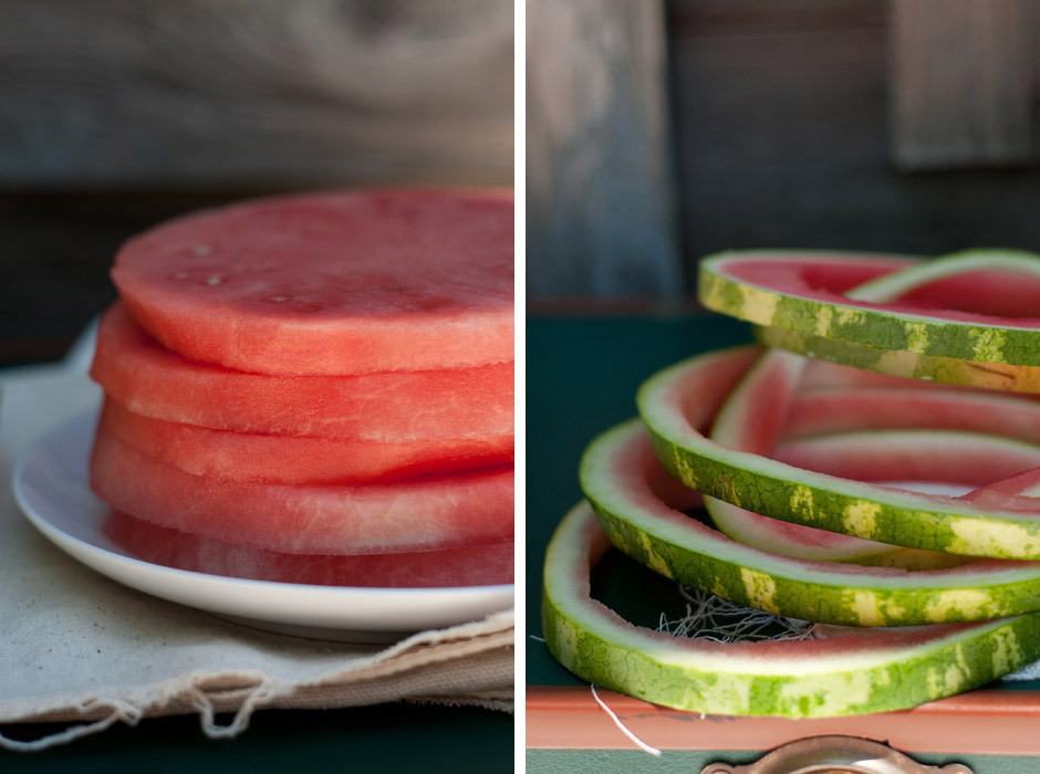 "Nothing says summer like watermelon! Slice watermelon into approx 1 inch rings, then remove the rind from each slice with a small knife. Place one watermelon ""round"" onto each salad plate, then top with a layer of thinly sliced fresh mozzarella (5 pieces?), followed by a layer of finely chopped mint, basil (approx ¼ c each) and a sprinkling of nuts (I used almonds and walnuts, but you can use any kind). Drizzle with a bit of olive oil and sea salt before serving. Enjoy with a fork and knife- a light yet filling salad! By Erin Gleeson for The Forest Feast"