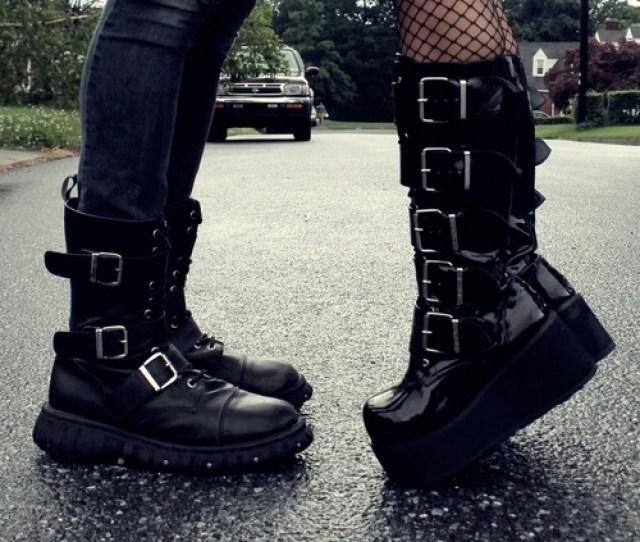 Cute Couples Cute Adorable Kiss Hug Boots Fishnet Goth Boots Short Girl Tall Guy Taller Guy