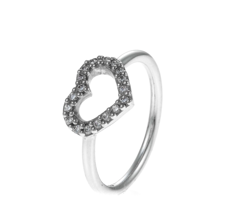 Pandora Silver Pav Heart Ring 190861CZ  John Greed Jewellery