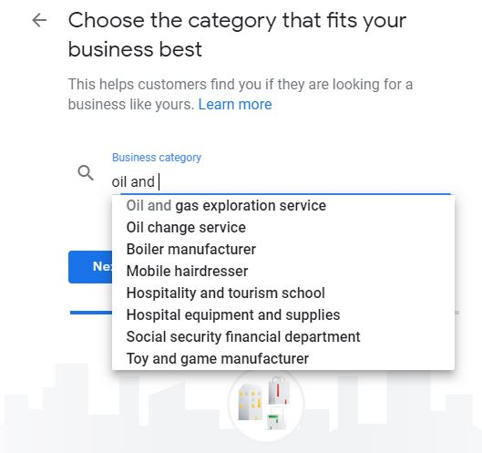 chose your business category in Google my business setup