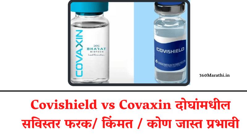 Covishield vs Covaxin दोघांमधील सविस्तर फरक/ किंमत / कोणती लस जास्त प्रभावी? तुम्हीच ठरवा | Covishield vs Covaxin comparison in marathi