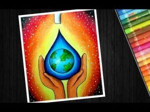 Save Water Drawing Sketch 4 -
