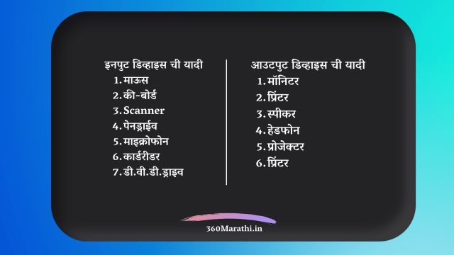 Input & Output devices in marathi