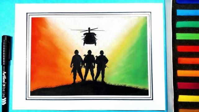 Kargil Vijay Diwas Posters Drawing 14 -
