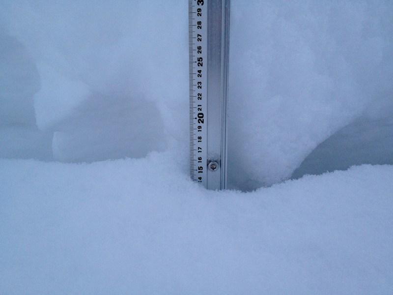 Snow fall depth in Hirafu Village, 30 January 2013