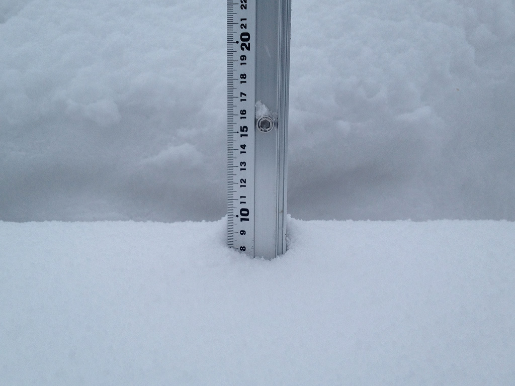 Snow fall depth in Hirafu Village, 3 February 2013