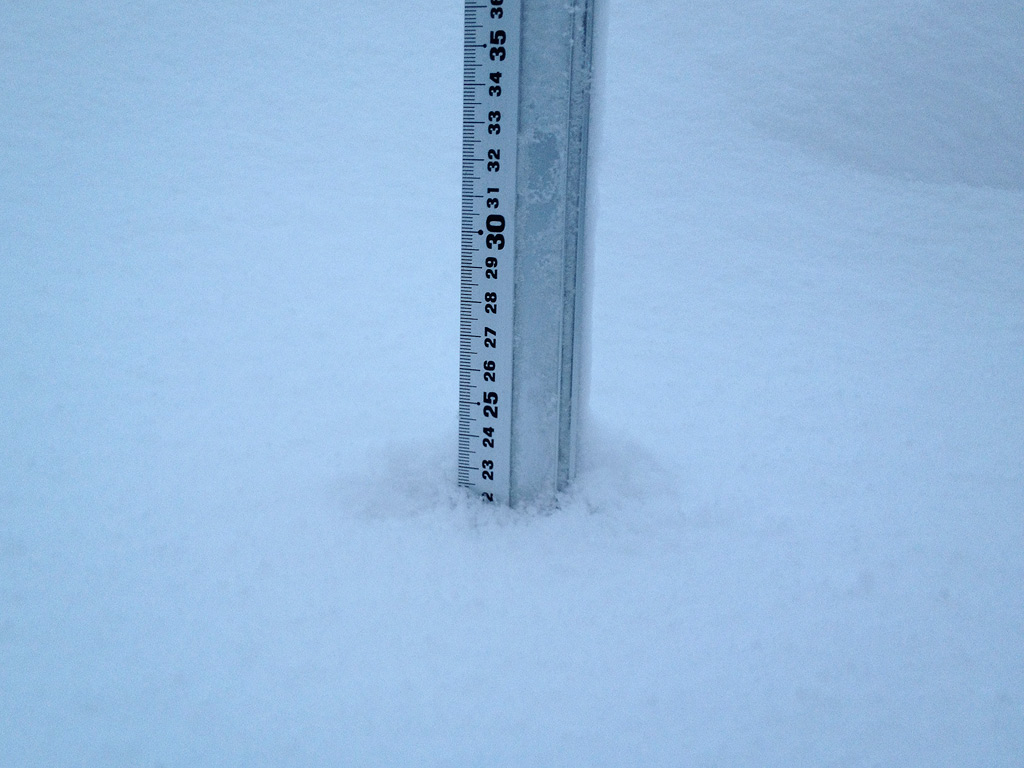 Snow fall depth in Hirafu Village, 5 February 2013