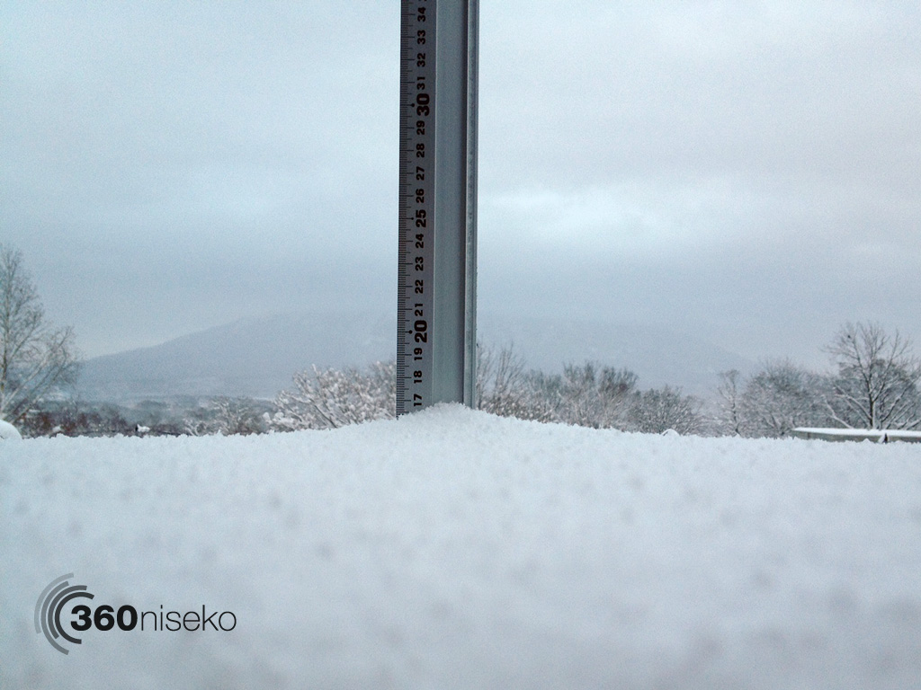 Snowfall in Hirafu Village, 30 September 2013