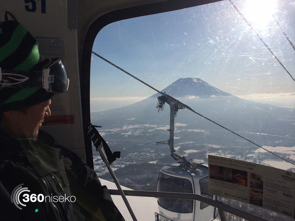 Imaizumi-san enjoying the view from the Niseko Gondola, 24 February 2014