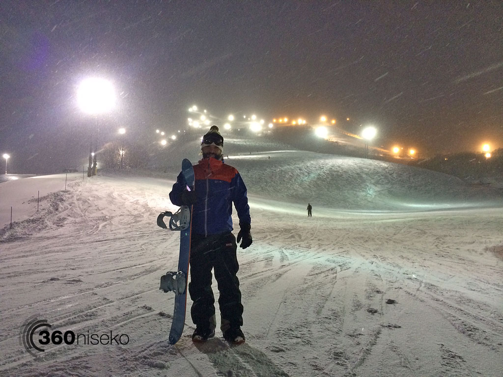 Gus heading out for a night shred, 21 February 2014