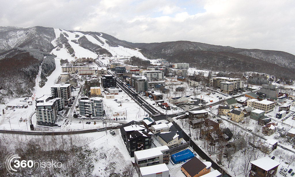 Hirafu Village with Grand Hirafu Ski Resort in the background, 17 November 2014