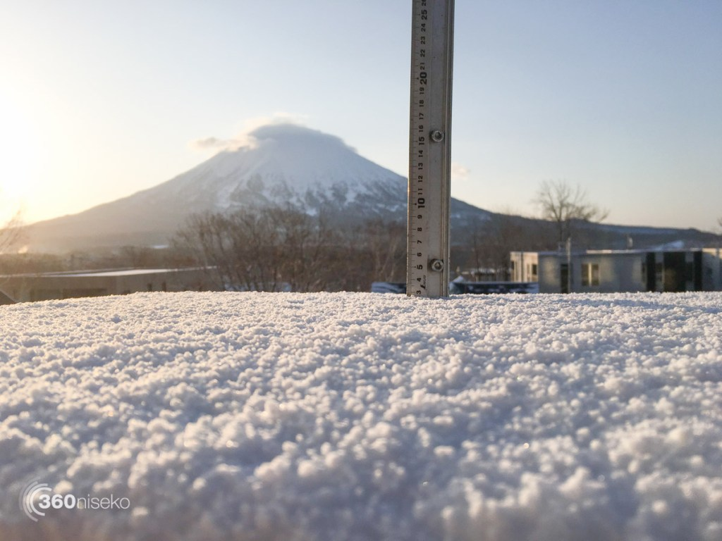 Snowfall in Hirafu Village, 12 April 2016