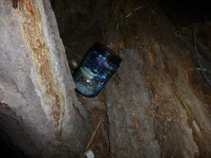 My bear canister just after the midnight marauder sauntered back into the woods.