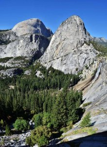 From top left: Half Dome, Mount Broderick, Liberty Cap, Nevada Falls