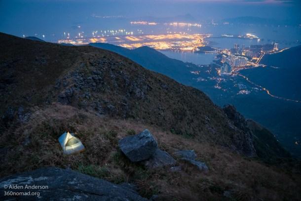 Camping atop Lantau Peak
