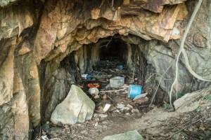 Trash inside Kamikaze Tunnel 2 (Kamikaze Tunnels of Hong Kong- A story of War and Occupation)