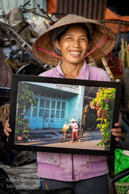 Ngoc with her photo, Hoi An, Vietnam