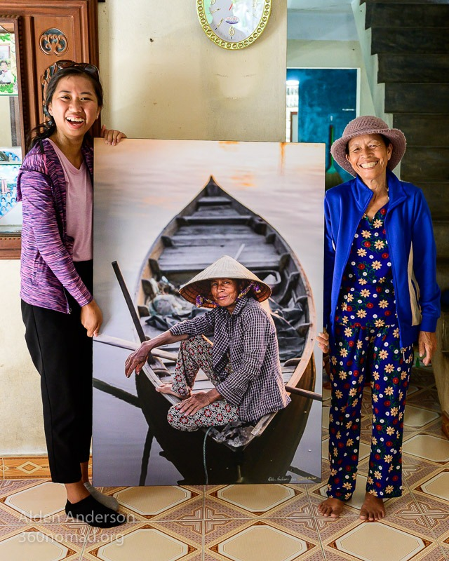 Sau with her photo, Hoi An, Vietnam