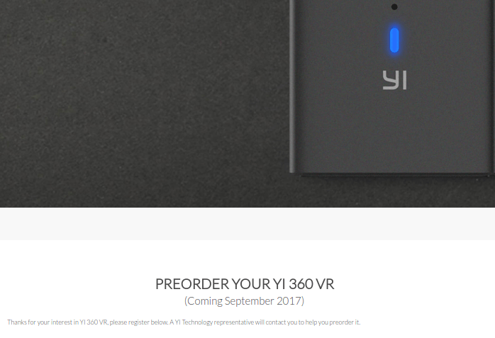 Yi 360 VR release date