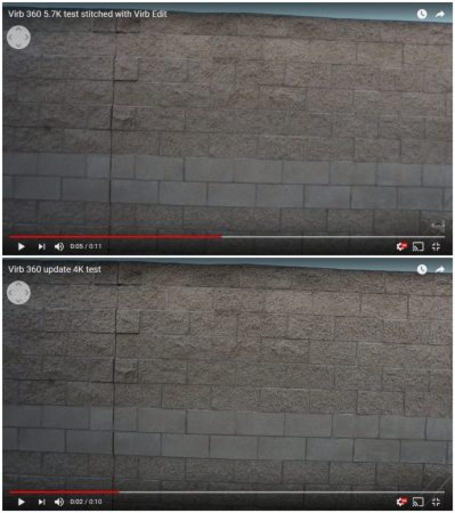 Garmin Virb 360 5.7K vs. 4K (labeled)