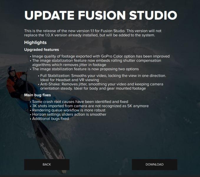 GoPro Fusion January 2018 update