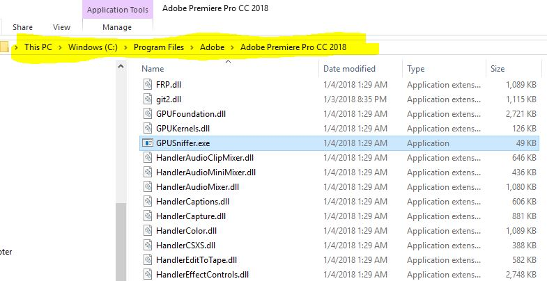 When Adobe can't find your graphics card, use GPUSniffer