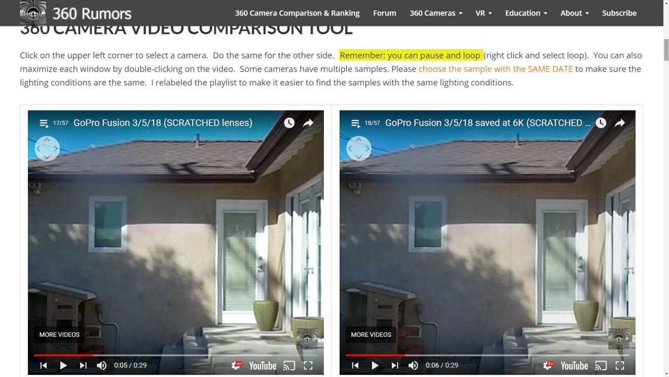 GoPro Fusion on Youtube: 4K on left, 5K on right