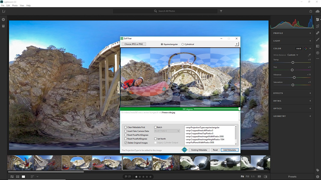 Adding 360 metadata with Exif FIxer