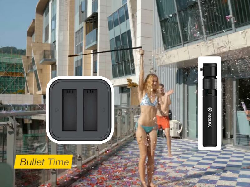 Insta360 One X accessories: fast battery charger cradle and new bullet time handle with tripod