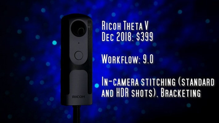 Ricoh Theta V has in-camera stitching for both standard and HDR photos, and has bracketing