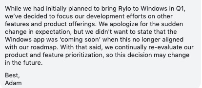 Don't wait for a Rylo Windows app anytime soon