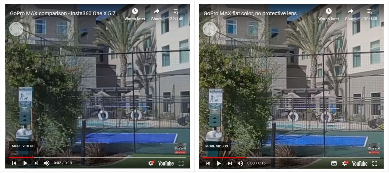 One X HDR Video (left) vs MAX flat color (right)