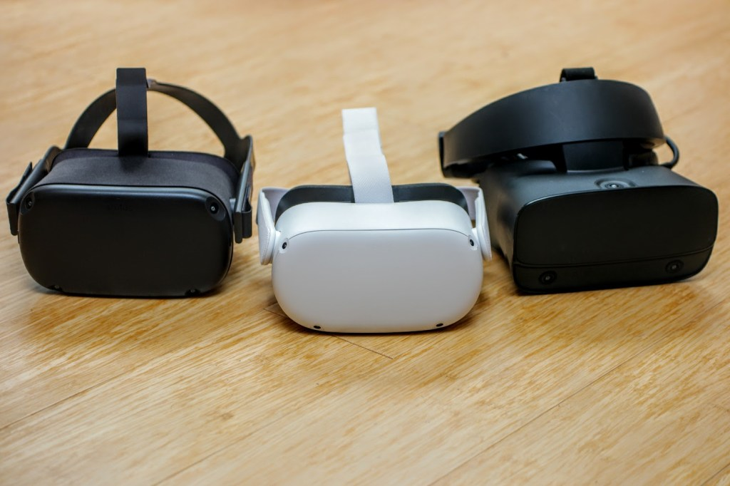 From left to right: Oculus Quest, Quest 2 and Rift S