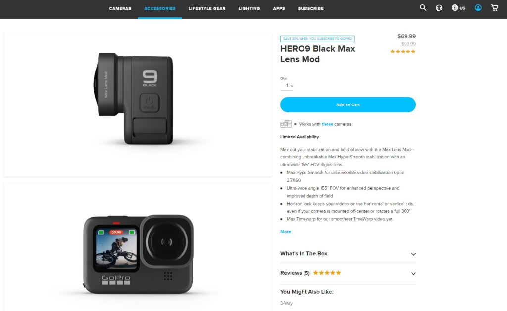 Gopro Hero 9 Max Lens Mod in stock