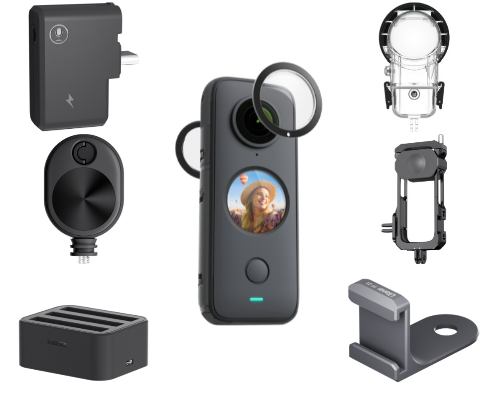 Insta360 One X2 accessories. Top to bottom, left to right: mic adapter, bullet time cord, quick charger, lens guards, dive case, utility frame, cold shoe