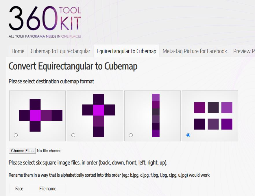 360 Toolkit can convert an equirectangular photo to cubemap faces