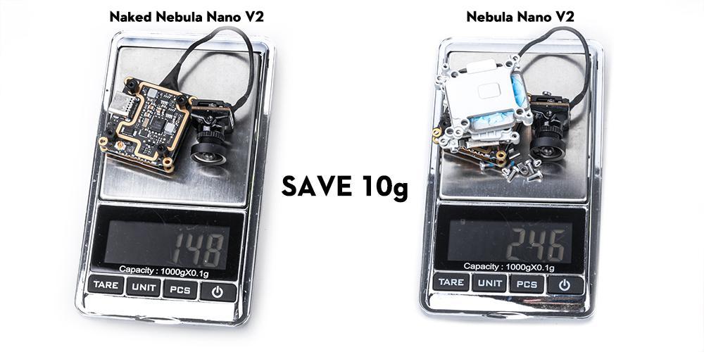 Naked Caddx Vista saves 10 grams compared to Caddx Vista
