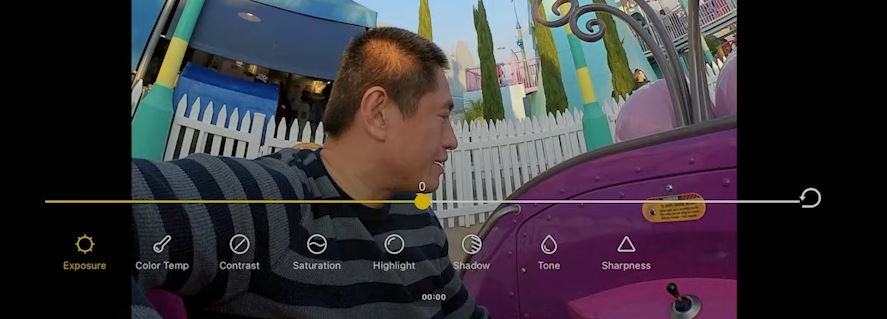 Insta360 app for iOS has additional editing adjustments not available for Android