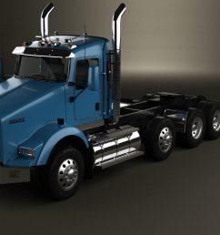kenworth t800 chassis truck 4 axle 2005 3d model [ 1280 x 720 Pixel ]
